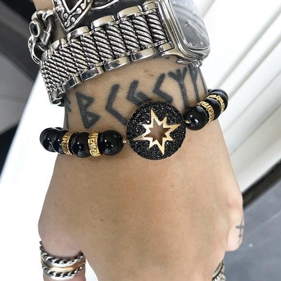 Silverskylight Jewelry - Genuine onyx yellow gold plated cz star bracelet